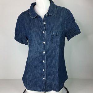 J. Crew Women's Blue Denim Button Up Shirt Linen
